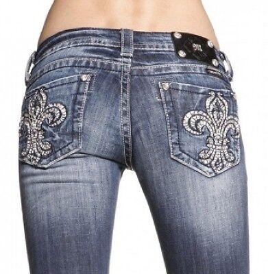 Miss Me Crystal Retro Fleur De Lis Embellished Vintage Bootcut Jeans