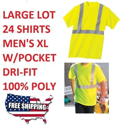 Ansi Class 2 T-shirt (ANSI Class 2 Safety T-Shirt. High Visibility LOT 24pc S.YELLOW)