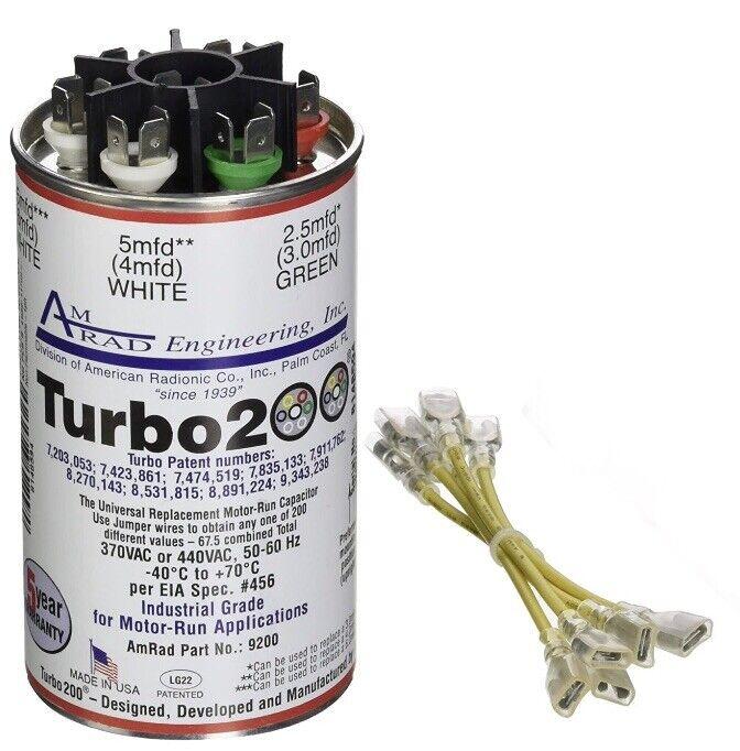 New Amrad Turbo 200 Run Capacitor 9200 370 VAC or 440 VAC 50/60 Hz up to 67.5