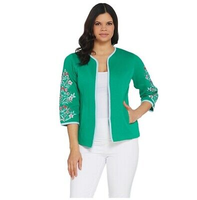 Bob Mackie Green Floral Embroidered 3/4 Sleeve Knit Jacket Cardigan Sweater Sz M