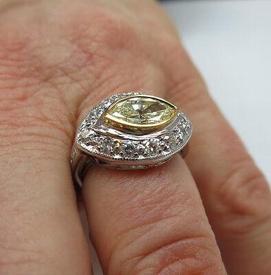 1.01 ct GIA Fancy Yellow Color VS1 Marquise Diamond Platinum Antique Ring 1.70 c 6
