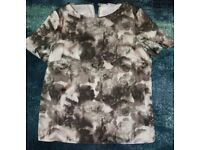 Lovely ladies top from Next with monochrome flower design, size 16, never worn!