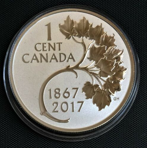 2017 Canada 1 cent Maple Leaf  Pure Silver Proof 1oz-38mm