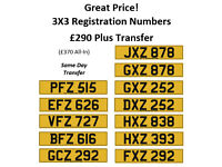 Great Value 3X3 Cherished Personal Private Registration Number Plates - £290 Plus DVLA Transfer Fees