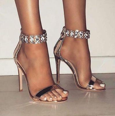 Ankle Cuff Pumps - New Women Jeweled Rhinestone Ankle Strap Cuff Open Toe Stiletto Heel Sandal Pump