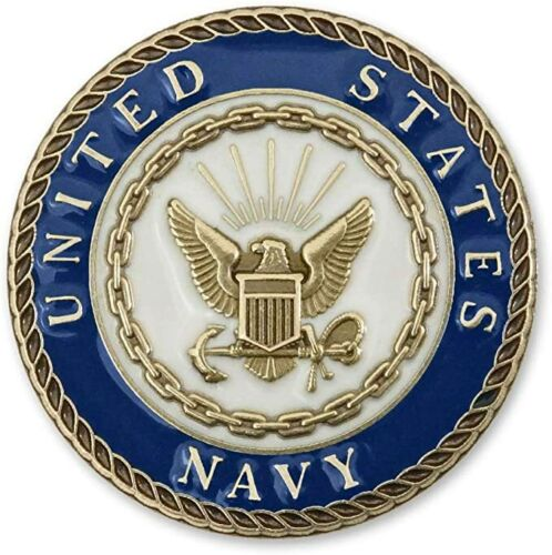 US NAVY CREST 1 Inch Die Struck Solid Brass Lapel Pin with Enamel Made in USA