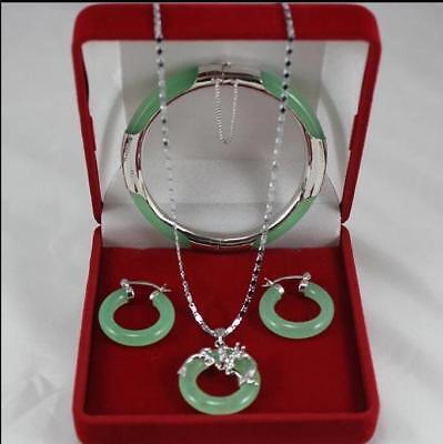 Jade Pendant Bracelet - Fashion jewelry Set Light Green Jade Pendant Necklace+Bracelet+Earring Set