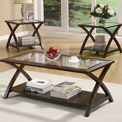 Glass Top X-Legs Brown 3-Piece Living Room Table Set Home Furniture Coffee End
