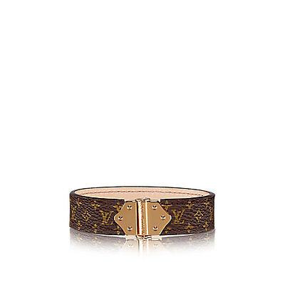 Louis Vuitton Auth M6689F Bracelet Spirit Monogram Canvas Brown Gold New #1533