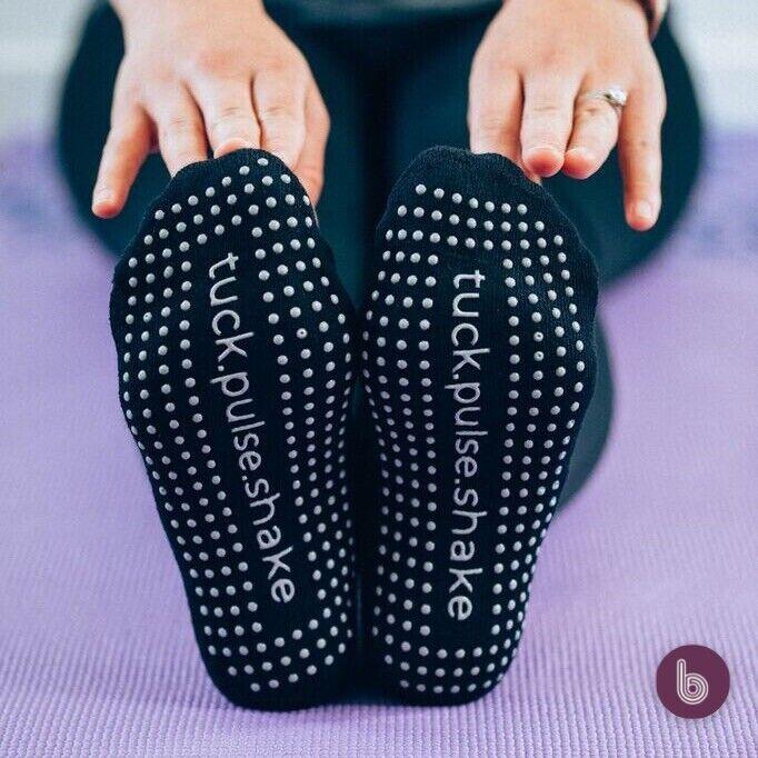 Barre Belle Yoga Sticky Socks (3 Pair!!) NEW Tuck Pulse Shake Print Pure Black