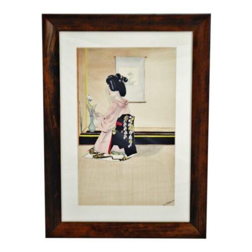 Vintage Framed Ink & Watercolor Japanese Geisha Painting - Artist Signed