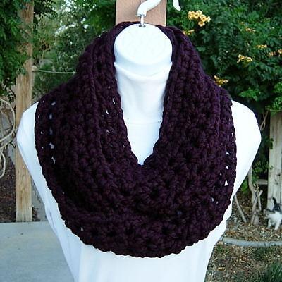 Eggplant Purple Infinity Loop Scarf Crochet Knit Winter Dark Solid Chunky Cowl