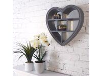 Heart Mirror Shelf - Grey - Brand new