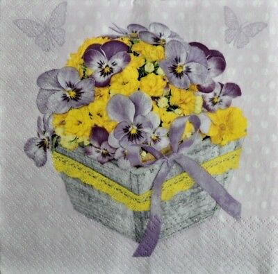 4 x Single Paper Napkins Flowers with Basket for Decoupage and Crafting 125