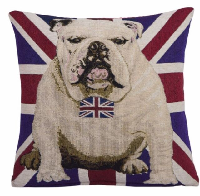 New British UK Flag Bulldog Dog Bow Tie Decorative Chenille  Pillow Case Cover