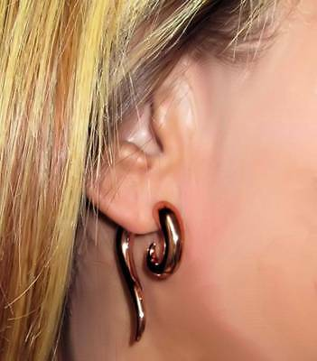 Faux Taper (Tribal Faux Taper Earrings Rose Gold Floral Pattern 18g Curled Lightweight)