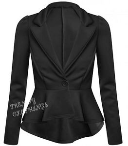 Womens Ladies Crop Frill Shift Slim Fit Fitted Peplum Blazer Jacket Coat UK 8-14