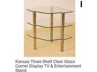Three tier glass corner unit