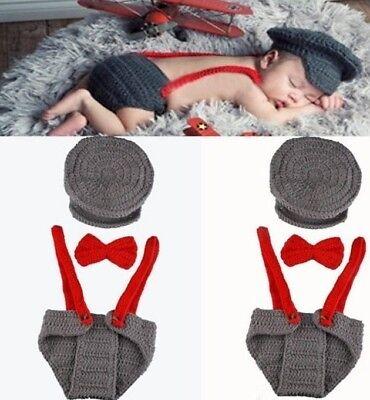 Baby Strickmütze Fotoshooting Kostüm Neugeborenen Junge Newborn Pilot 3 Tlg.
