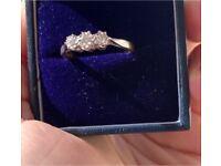 Antique 18 carat yellow gold and platinum diamond trilogy ring