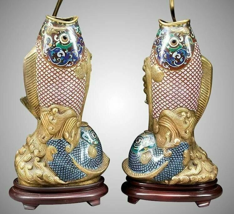 "19C  32"" Chinese Cloisonné Fish Lamps"