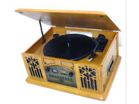 Protected Wooden Record Player Turntable Cassette CD Radio AM FM Tuner Retro Stylish Antique Style