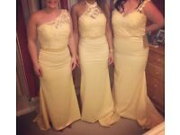 A-Line Beaded Satin Chapel Train Bridesmaid Dresses (3 styles available)