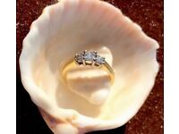 18k gold, .50 Diamond trilogy Ring