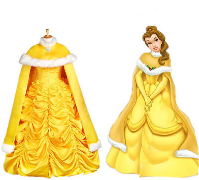 Halloween Princess Belle Costume Beauty and The Beast Fancy Cape Only NEW