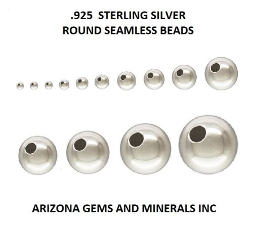 Sterling Silver .925 Round Seamless Beads Choose Size & QTY. 1.8mm thru 18mm