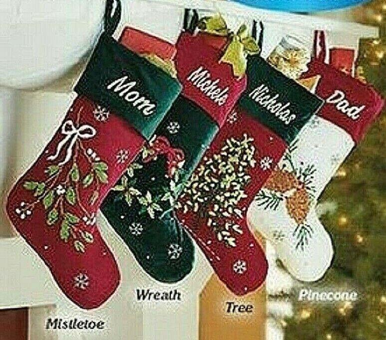 Velvet Embroidered Stocking Christmas Stockings Choose Style Velvet 19.5″x 10.5″ Holiday & Seasonal Décor