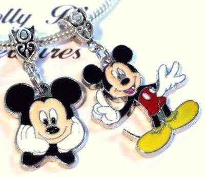2 MICKEY MOUSE  Pendant Charms for European Charm Bracelet or Necklace