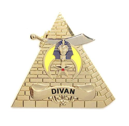 Deluxe Shriner Divan car emblem 3 inch gold #CD24