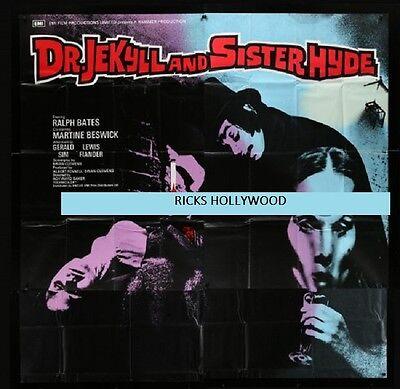 "1971 DR. JEKYLL & SISTER HYDE HAMMER FILMS BRITISH 6 Sht 81"" x 81"" Bates Beswick"