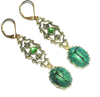 SCARAB Earrings EGYPTIAN REVIVAL Metallic Green Beetle Victorian Gold Pltd Drops