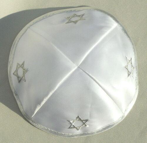 White Satin Kippah Yarmulke Silver Star of David Kipah yamaka Jewish prayers Hat