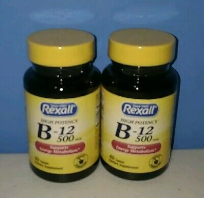 2x Rexall Vitamin B-12 500 mcg 60 Tablets (120 Total). High Potency Supplements (500 Mcg 120 Tablets)
