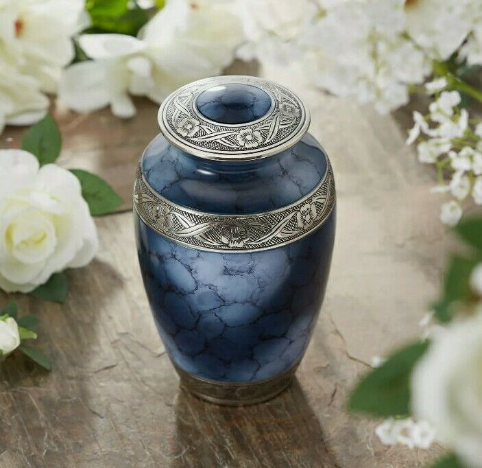 Adult Cremation Urn for Human Ashes - Blue and Silver with Bag NOB 856