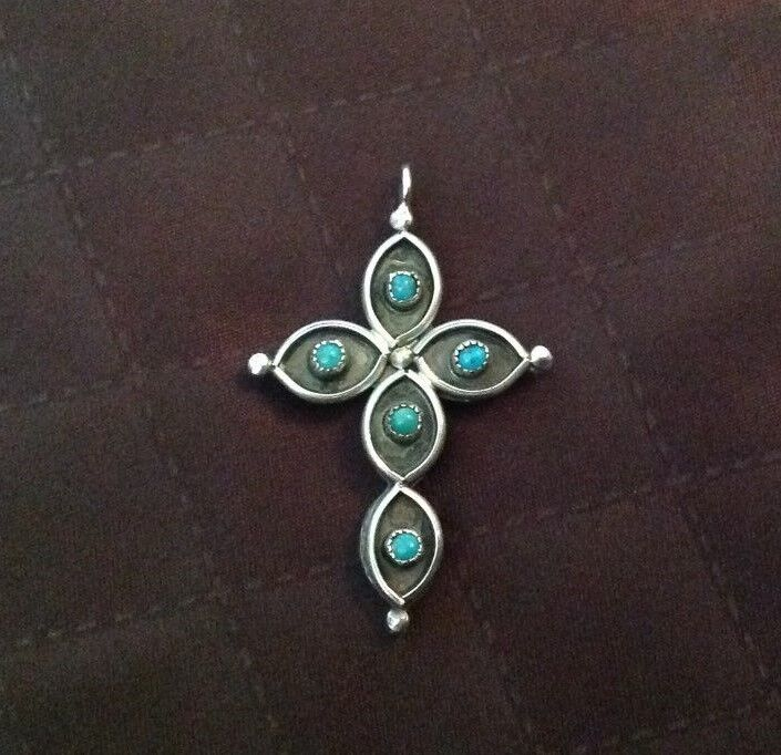 Sterling Silver Hand Crafted DOUBLE SIDED vintage Cross Pendant 70