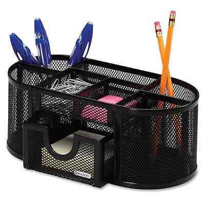 New Supply Caddy Office Organizer Desk Storage Supplies Mesh Black Oval Holder