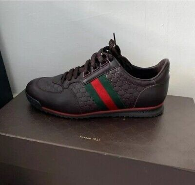 Mens Brown Leather Gucci Trainers