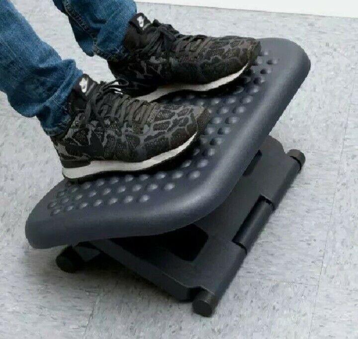 Adjustable Angled Ergonomic Foot Rest 3 Height Positions massage Surface (Black)