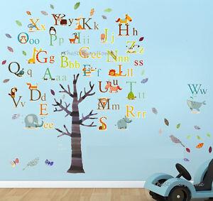 Huge Combo Alphabet Animal Tree Wall Stickers Educational Kids Art Decal Nursery