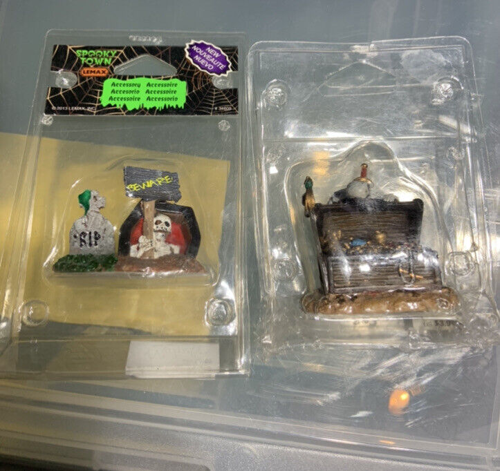 Lot of 2 Lemax Skelton Figures Treasure Chest  & Beware Grave