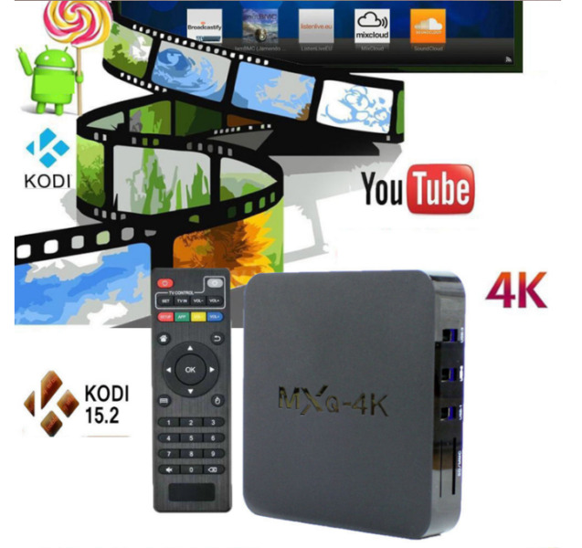 MXQ-4K Android Smart TV BOX KODI Fully Loaded 4 Core Media Player 4K HDMI Jack