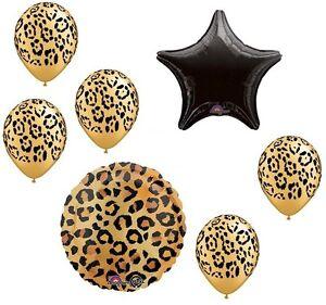 Leopard Cheetah Jungle Safari Print 7 Pc Party Bouquet Decoration Balloons Set C