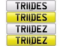 Personalised plates : TR11DES and TR11DEZ (sold as pair)