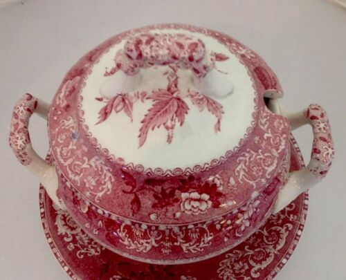 "RARE SPODE'S COPELAND ""CAMILLA""OLD STAMP FLORAL RED WHITE COVERED TUREEN"