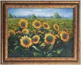 Sunflowers (1987) by Charles Benoit (Original Oil Painting)