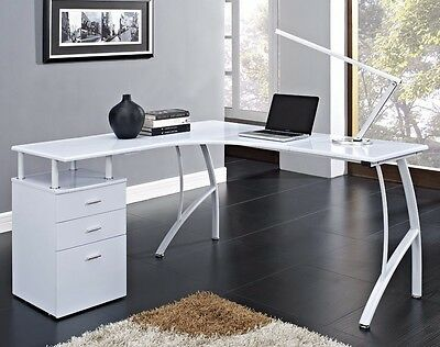 L Shaped Corner Computer Pc Desk With 3 Drawers Black Or